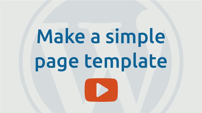 Make a simple page template