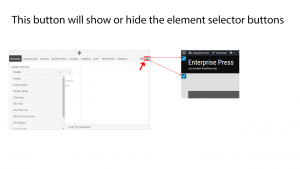 Show or hide the element selector buttons in Genesis Extender and Dynamik Website Bulder